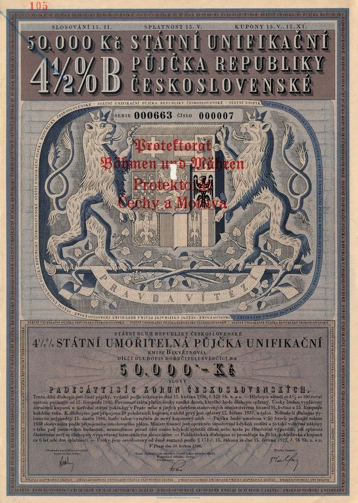 Státní unifikační půjčka republiky Československé na 50 000 Kč. Praha, 1936.