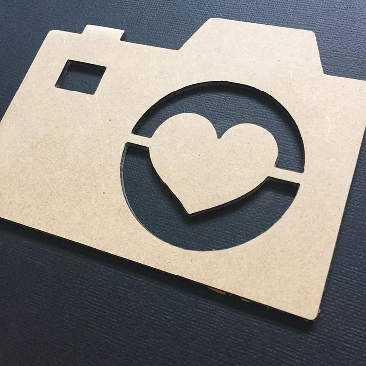 Camera Love Heart Cut Out Flat Lay Prop - Photo Prop - Scrap Booking - Craft3mm Craftwood14cm wide x 10.5cm tall