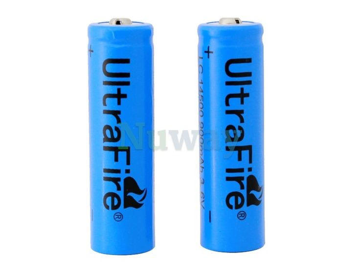 2-Piece UltraFire 14500 900 mAh 3.6 V Rechargeable Lithium Battery (Blue) | Nuway Shopping