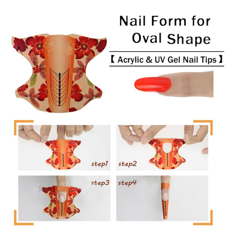 100pcs roll Oval Shape Adhesive Nail Form for Acrylic/UV Gel Nail Tips Nail Extension Nail Art Tool