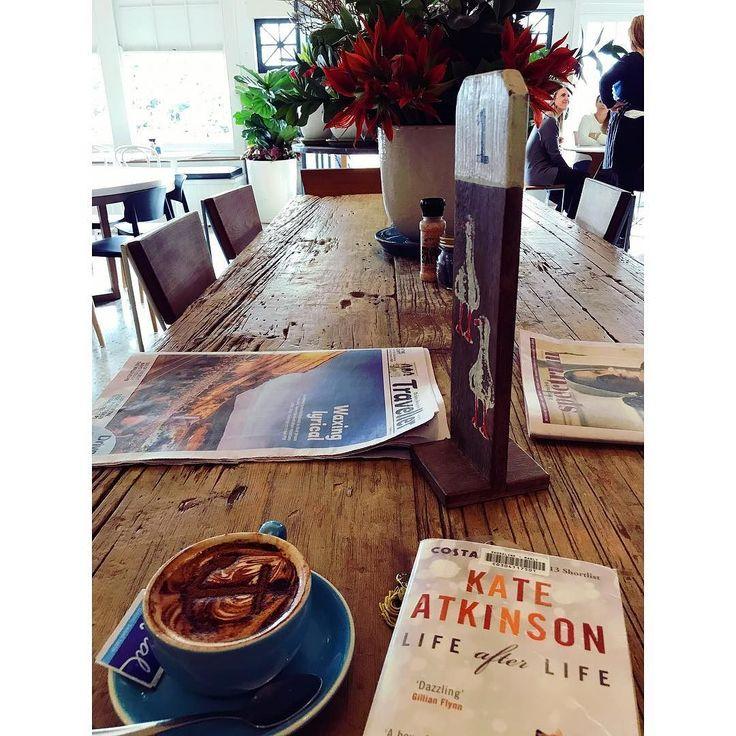 Saturdays .... #coffee #goodbook #newspaper #boathouse #beach #sydneyaustralia