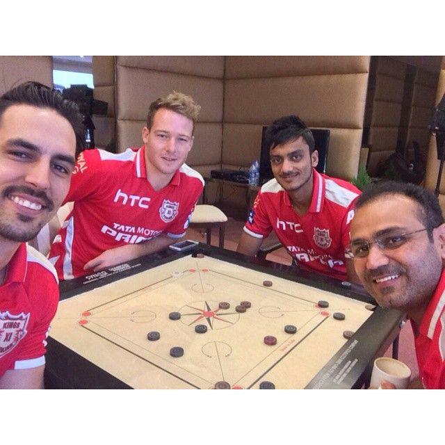 IPL Tweets » Our lions @mitchjohnson398, @davidmillersa12, @akshar.patel and Viru Paaji enjoying a game of Carrom between training breaks. #KXIP | www.IPLTweets.com #IPLTweets #PepsiIPL