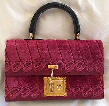 Roberta di Camerino Vintage Handbag Purse Red Velvet with Gold Closure