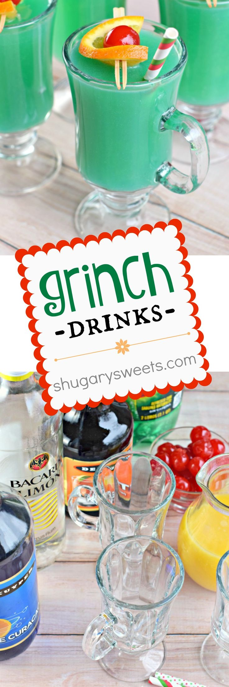 This fun and fruity alcoholic Grinch Drink is the perfect cocktail recipe for your upcoming Christmas holiday party!!