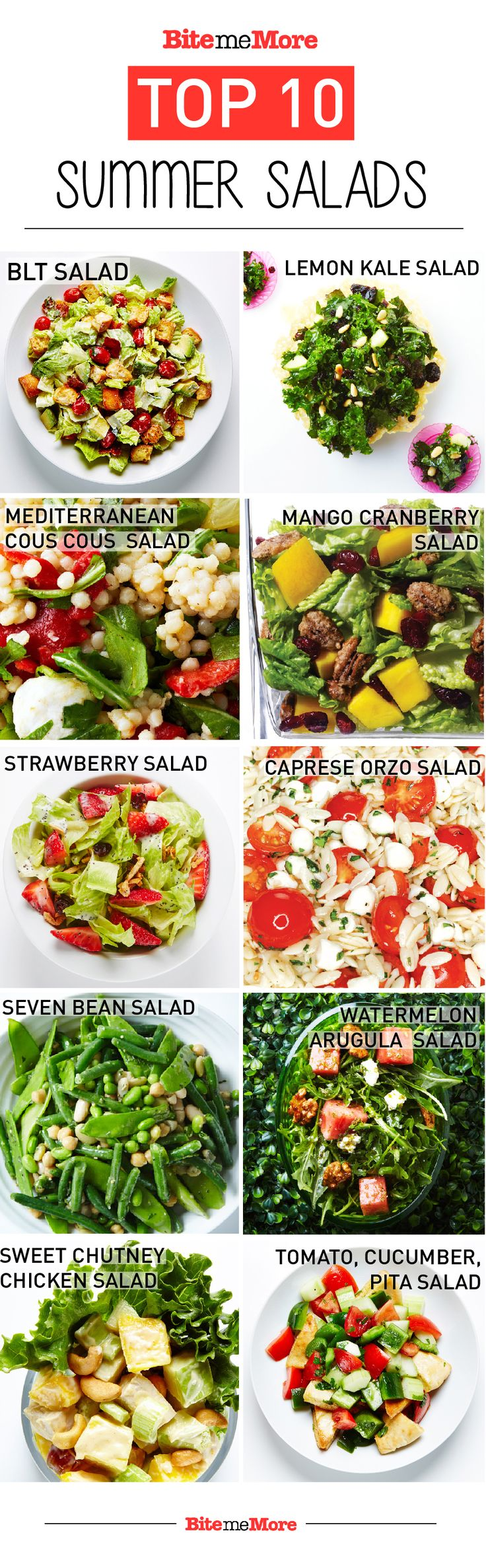 Check out our Top 10 light and leafy salads for summer. #BiteMeMore #salad #recipes