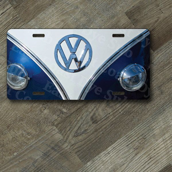 "VW Blue Bus Front End Design on 6"" x 12""  Aluminum License Plate by EastCoastDyeSub on Etsy https://www.etsy.com/listing/206429261/vw-blue-bus-front-end-design-on-6-x-12"