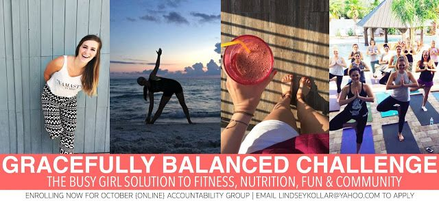 October Challenge: The Busy Girls Solution to Fitness Nutrition Fun & Community   Fitness | Nutrition | Support | Community  If it ain't broke don't fix it.  And those four things WORK.. every.single.time.  But unfortunately we complicate a balanced lifestyle & physical results by looking for quick fixes.  Not in my Gracefully Balanced challenges.  You see.. I've been there. Done that. Got the t-shirt.  But in time I became FED UP. And finally found my way when I stuck to the basics…