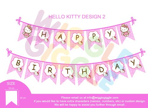 Hello Kitty Banner Bunting. Visit us at www.wigglegiggle.com