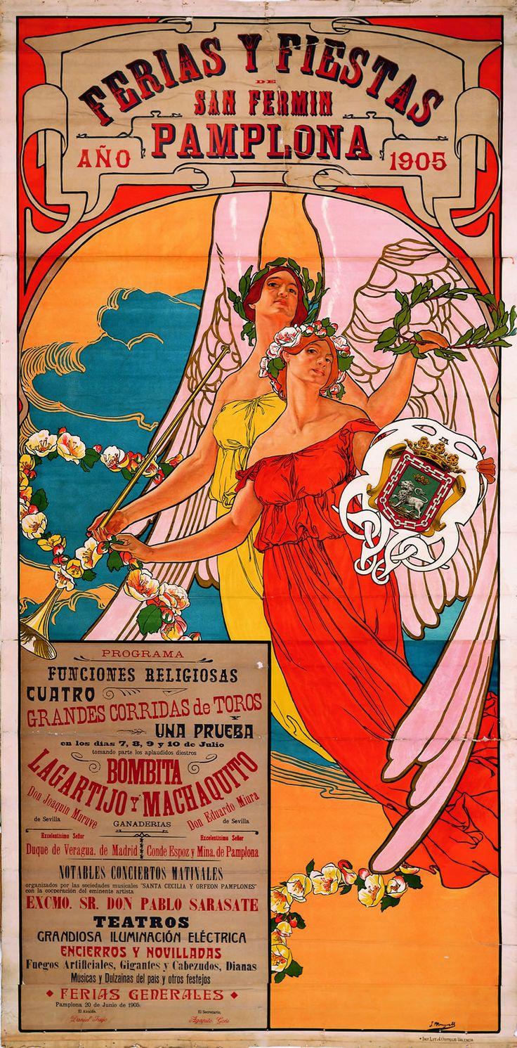 Cartel de los Sanfermines de 1905 - Ferias y fiestas de San Fermín, Pamplona.