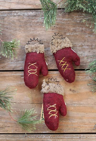 Primitive Mitten Ornaments (Set of 3)