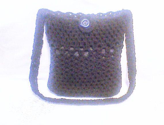 Black crochet shoulder bag Hand crocheted Crochet by HandmadeTrend, $25.00