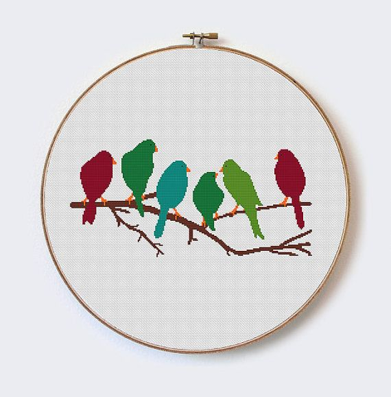 Birds Branch  modern cross stitch pattern Cut by MilaliParade