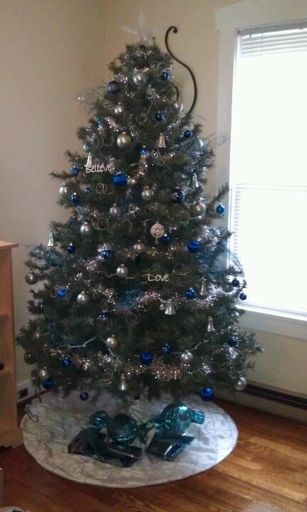 Light Blue Dark Blue Silver Christmas Tree Christmas