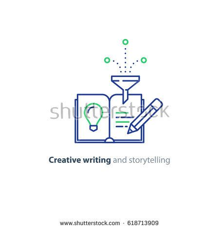 Creative writing concept, vector mono line icon