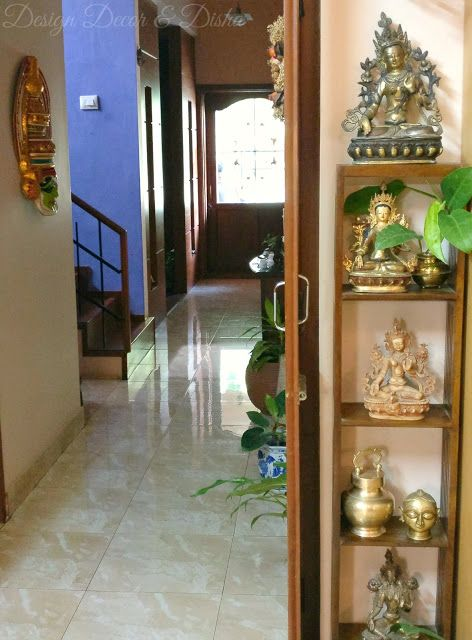Design Decor & Disha: Indian Home Decor, Brass, Brass Decor, Shelf, Shelf Decor, Brass Buddha, Brass Tara, Zen, Zen Decor, Zen Corner, Kathakali Mask, Indian Living room