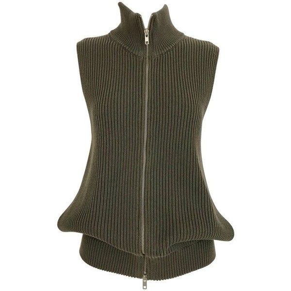 Preowned Margiela Olive Green Vest Cardigan Knit Top (£580) ❤ liked on Polyvore featuring tops, cardigans, green, sweater vests, cardigan vest, green vest, olive vest, olive green cardigan and knit sweater vest
