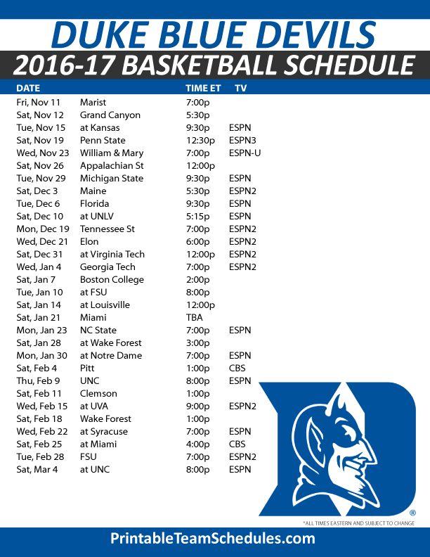 Duke Blue Devils Basketball Schedule 2016-17 Print Here - http://printableteamschedules.com/NCAA/dukebluedevilsbasketball.php
