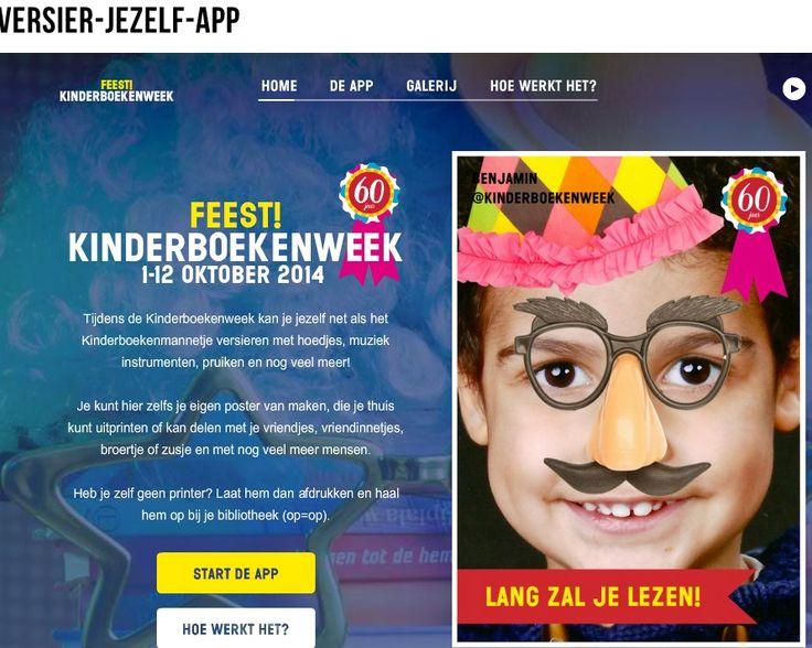 De Versier-jezelf-app is geopend op http://www.kinderboekenweek.nl/versier-jezelf-app/index.html. In deze webtoepassing kunnen kinderen hun eigen foto versieren met allerlei feestartikelen, van een hoedje tot plaksnor en van pruik tot feeststrik! De foto kan vervolgens worden geprint als poster.