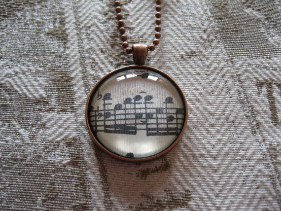 Old Papers  Glass cabochon necklace with old by KeyToHappyness #shopping #music #necklace #pendant