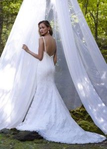 Jag by Robert Bullock Bride - Alencon Lace mermaid gown with V-neckline and low back.