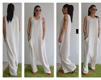 Blanco Maxi mono blanco mono de mujer / por ClothesByLockerRoom