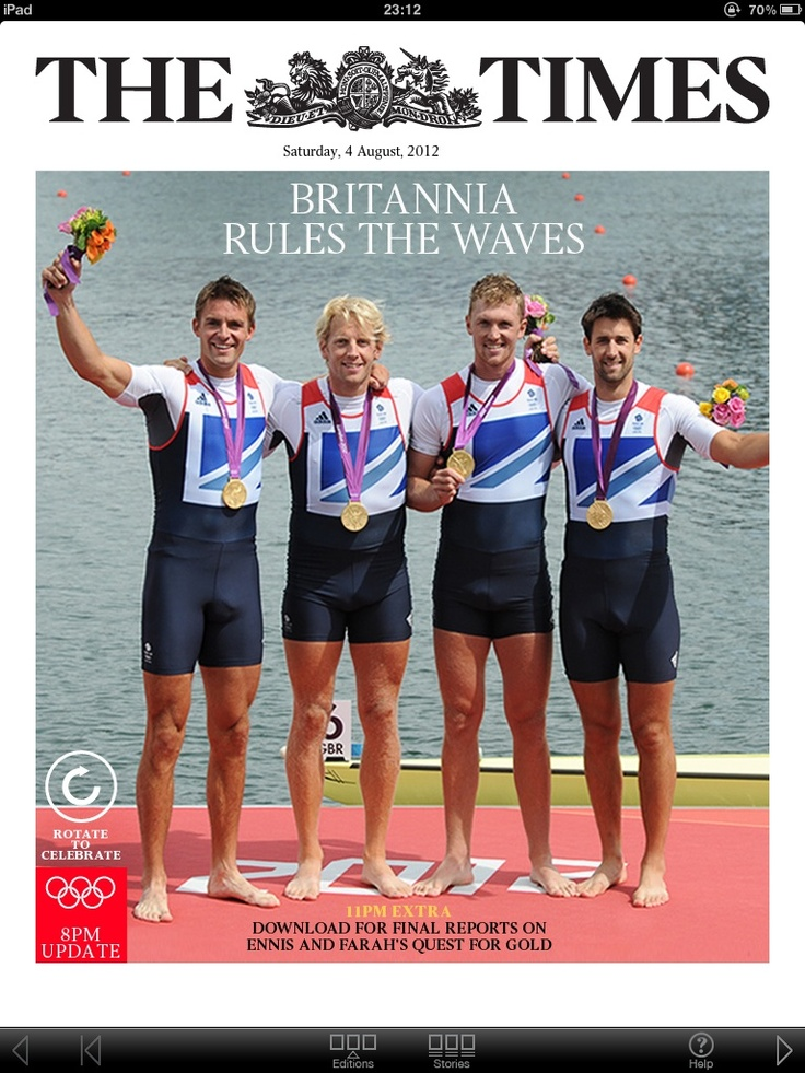 Cover photo of 'The Times' newspaper - Britannia Rules The Waves - The GB Olympic rowing Team with their Gold medals at the ceremony