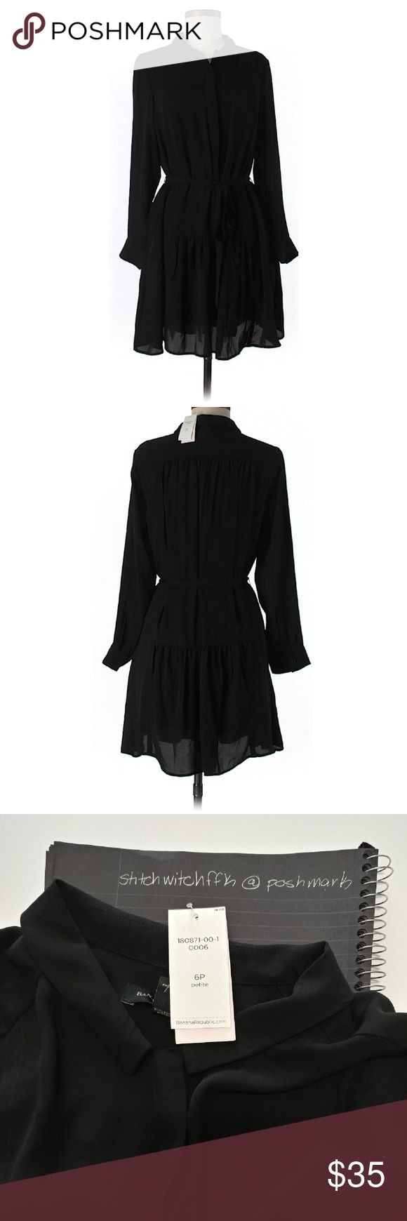 """NWT petite black Banana Republic button down dress Never worn, brand new with tags black dress by Banana Republic. Long sleeve, button up bodice, a-line silhouette, slightly sheer so you might need a slip. 30"""" chest, 37"""" length. Banana Republic Dresses Long Sleeve"""