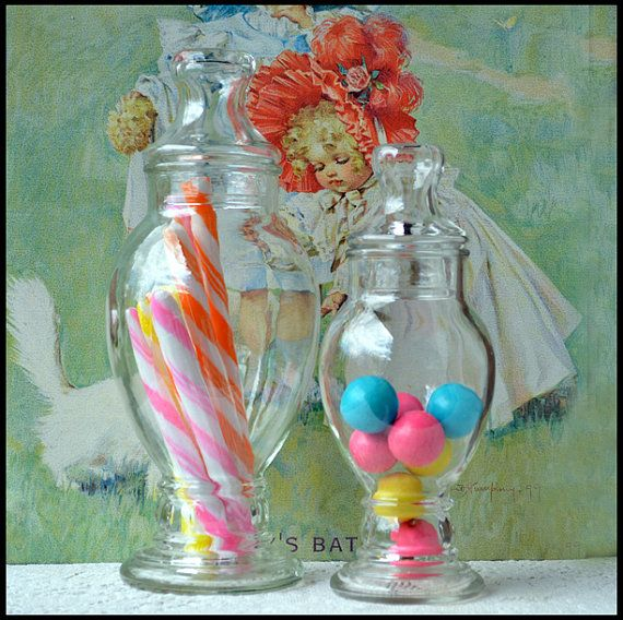 Vintage Candy Apothecary Jars / Wedding Candy Buffet / Penny