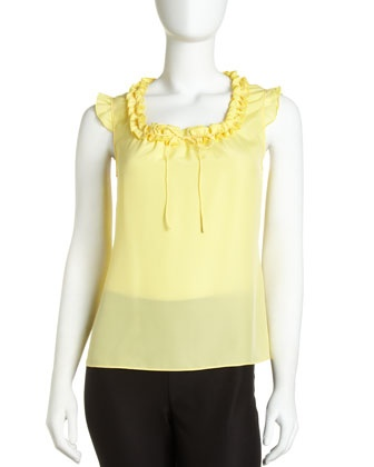 Crepe Ruffle-Trim Blouse by Tahari at Last Call by Neiman Marcus.