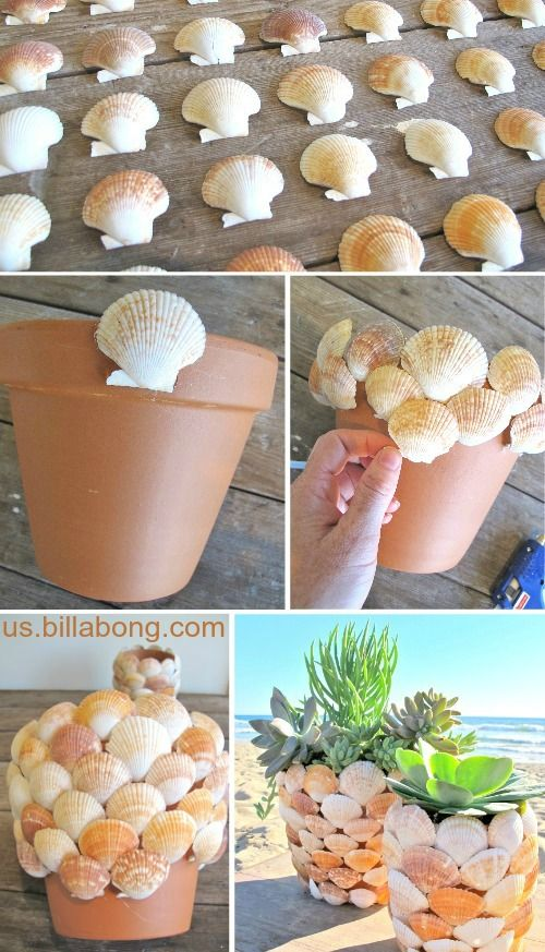 Terra Cotta Pot Makeover with Scallop Shells: http://www.completely-coastal.com/2010/07/scallop-shell-pot.html