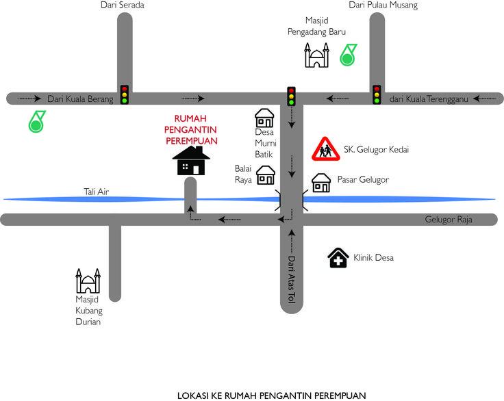 peta ke rumah pengantin perempuan B-89, Kampung Gelugor Kedai, 20050 Kuala Terengganu.