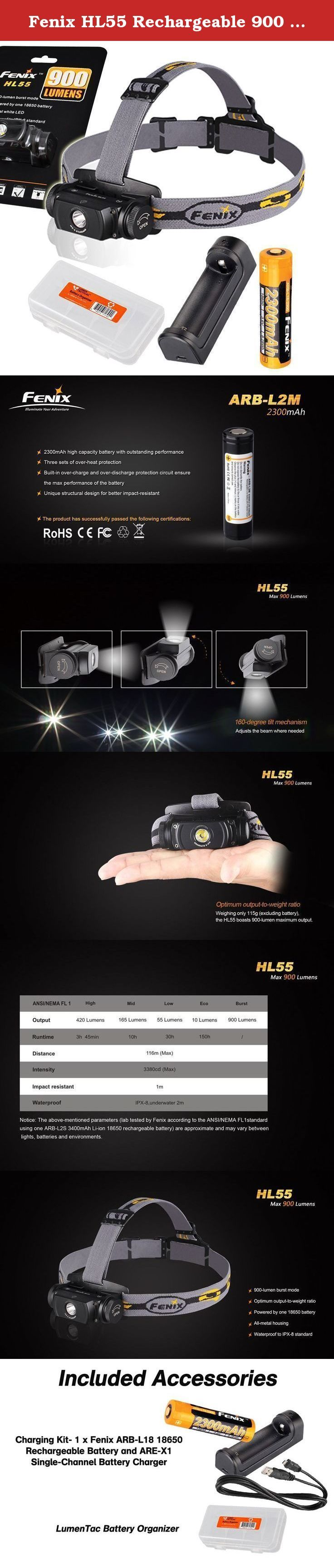 Fenix HL55 Rechargeable 900 Lumens Headlamp with Genuine Fenix Rechargeable Battery, Charger and LumenTac Battery Organizer. The Fenix HL55 headlamp offers four brightness levels plus 900-lumen burst mode and 150-hour runtime from one 18650 battery or two CR123A batteries. Neutral white light means superior definition and penetration in high-humidity environments. A 116-meter carry distance reaches farther while the side switch on the head is all you need for ON/OFF, output selection, and...