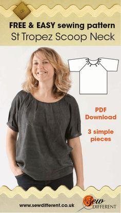 Free sewing pattern for women. I love this top - it's SO versatile AND comes with step-by-step instructions to make it!