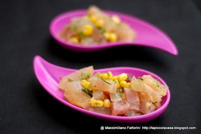 La Piccola Casa: Il piatto insolito: insalata di nervetti di vitello con mais dolce, coriandolo, mostarda di mela a spicchi e Olio EVO