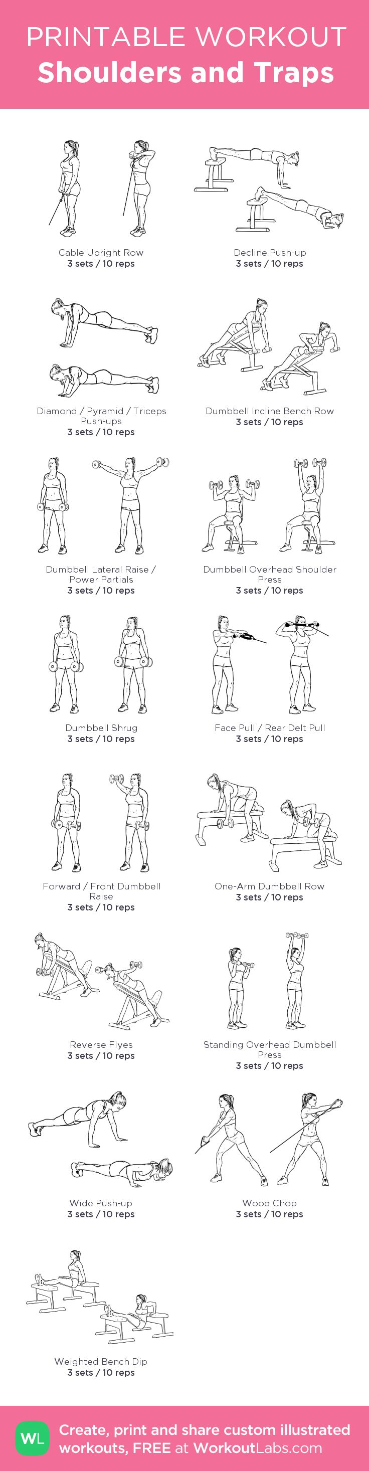 Shoulders and Traps –my custom workout created at WorkoutLabs.com • Click through to download as printable PDF! #customworkout
