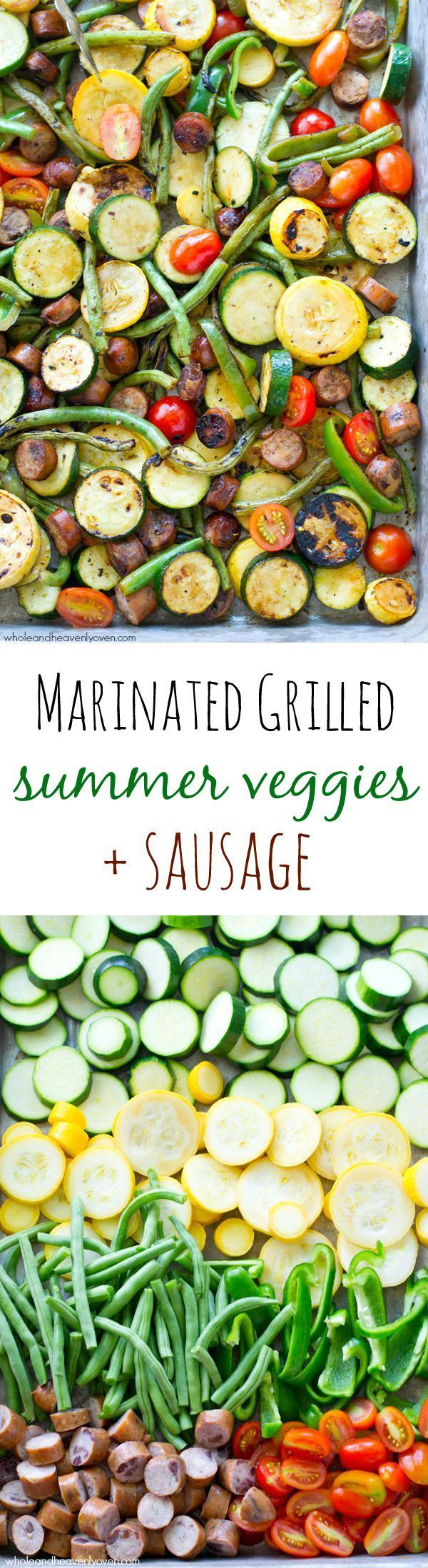 These flavorful grilled veggies are loaded with so much healthy summer veggie goodness and plenty of sausage to satisfy both meat-lovers and veggie-lovers! @Sarah | Whole and Heavenly Oven