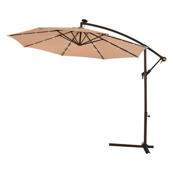 Costway 10 Hanging Solar Led Umbrella Patio Sun Shade Offset Market W Base Beige Patio Sun Shades Patio Solar Led Lights