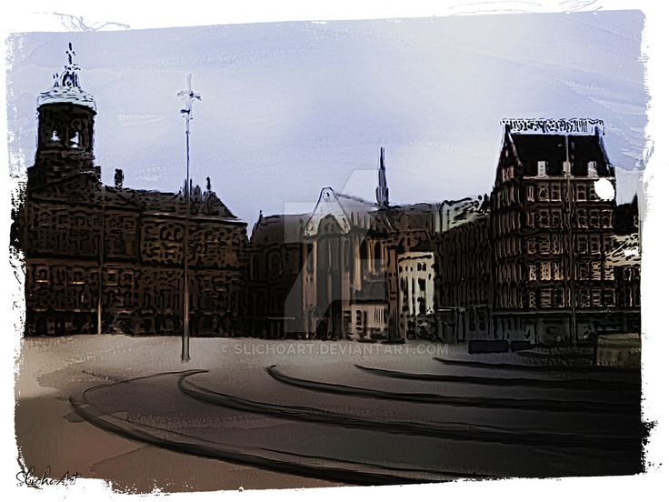 Digital painting of the dam in Amsterdam. Normally this square is filled with people and doves but I thought it would be nice to paint it without those. This item is for sale for 200 points. You ar...