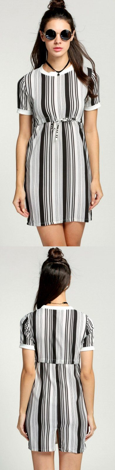 New Fashion Striped Mini Dress $15.99 Only. Get Additional 10% Off your first order at www.pescimoda.com #Dresses #CasualDresses #SummerDresses #DressesForTeens #White #Backless #PartyDresses #EverydayDresses