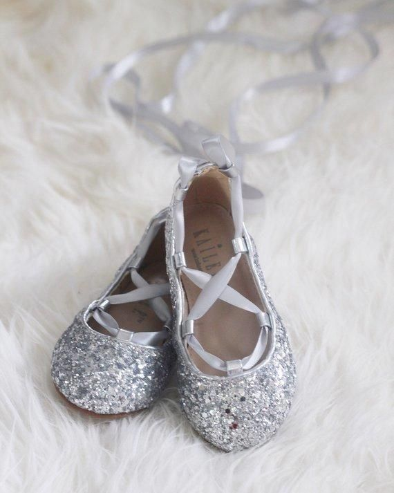 8d74939f6971 SILVER ROCK GLITTER ballerina flats with satin ribbon lace up  glittershoes