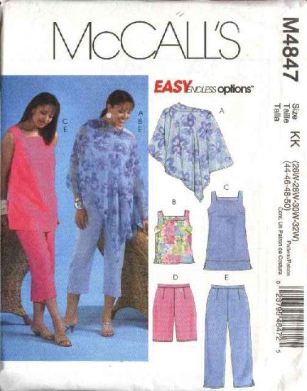 McCall\'s Sewing Pattern 4847 Womans Plus Size 26W-32W Easy Summer ...