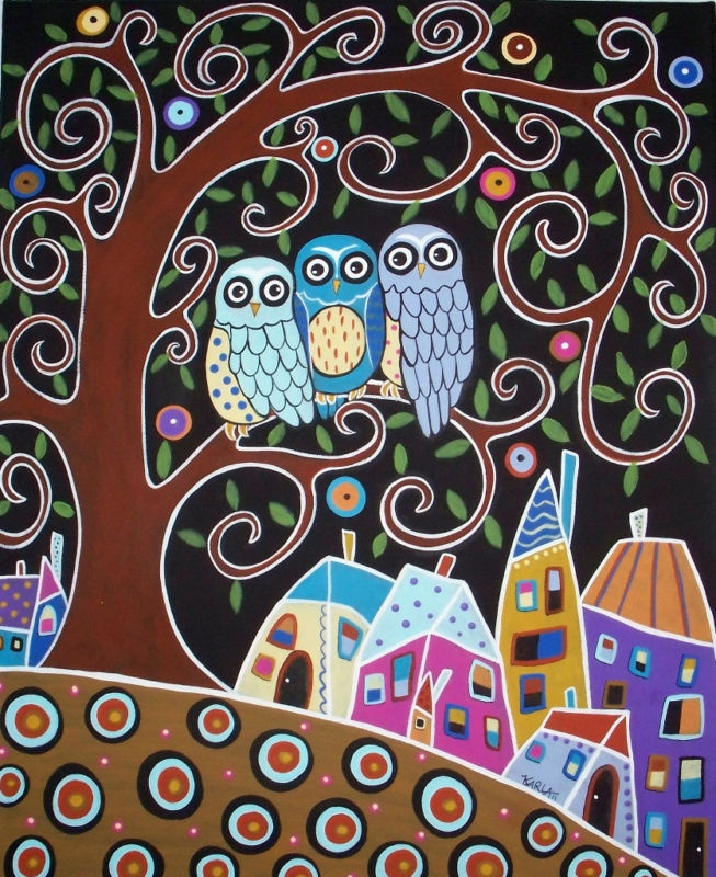 RUG HOOK PAPER PATTERN 3 Owls ABSTRACT Folk Art KARLA G   eBay
