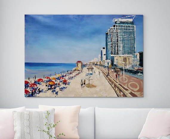Landscape Beach Blue Sea Waterfront Buildings Big Oil canvas original Painting Modern Art  Oceanview wall art 35 x 59 inches (90cm x 150cm)