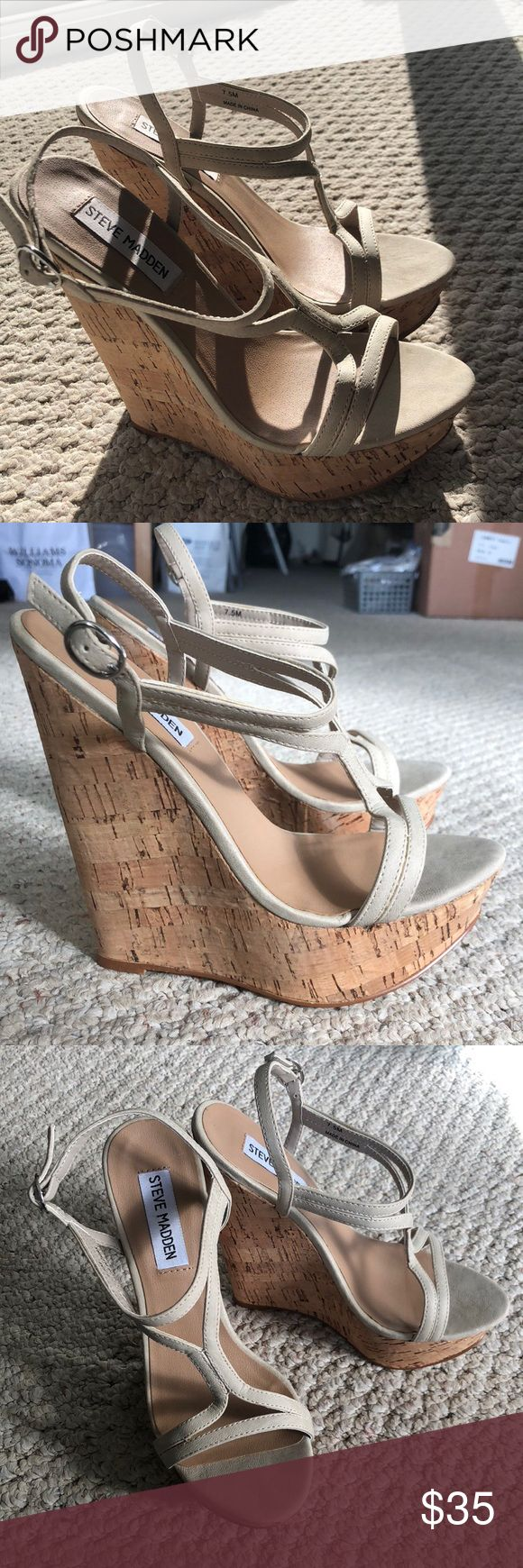 Steve Madden Beige Wedges Steve Madden Beige Wedges in great condition! (Only worn once) Super cute for dressing up a casual outfit or wearing with any dress/skirt! Steve Madden Shoes Wedges