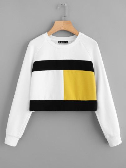 c690829e5f7a Shop Color Block Raglan Sleeve Sweatshirt online. SheIn offers Color Block  Raglan Sleeve Sweatshirt & more to fit your fashionable needs.