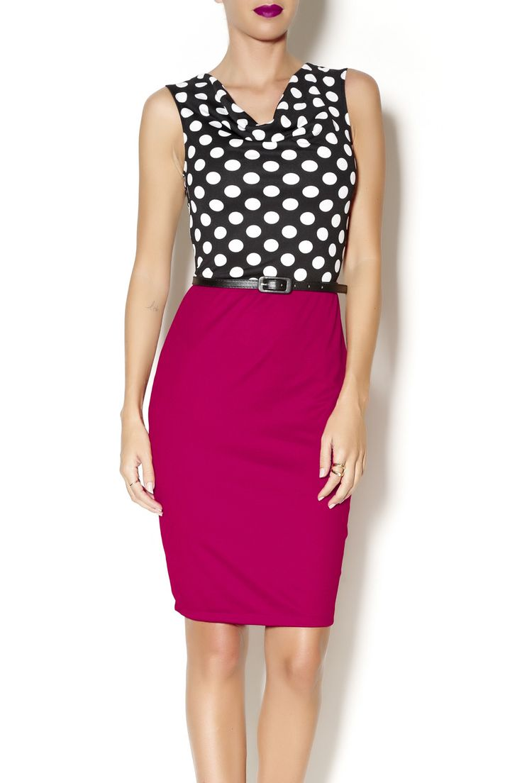 Black and red colorblock dress with polka dot slouchy top and belted waist. A classic ensemble for the office!   Red Polkadot Dress by Black Box Boutique. Clothing - Dresses - Casual Massachusetts