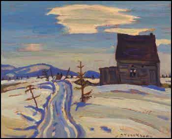 """Les Maisons Abandonée,"" Alexander Young (A.Y.) Jackson, 1925, oil on panel, 8 1/2 x 10 1/2"", private collection."