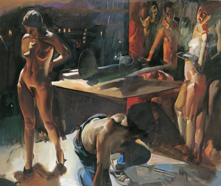Csernus Tibor, Műteremben, 1994, Olaj, Vászon