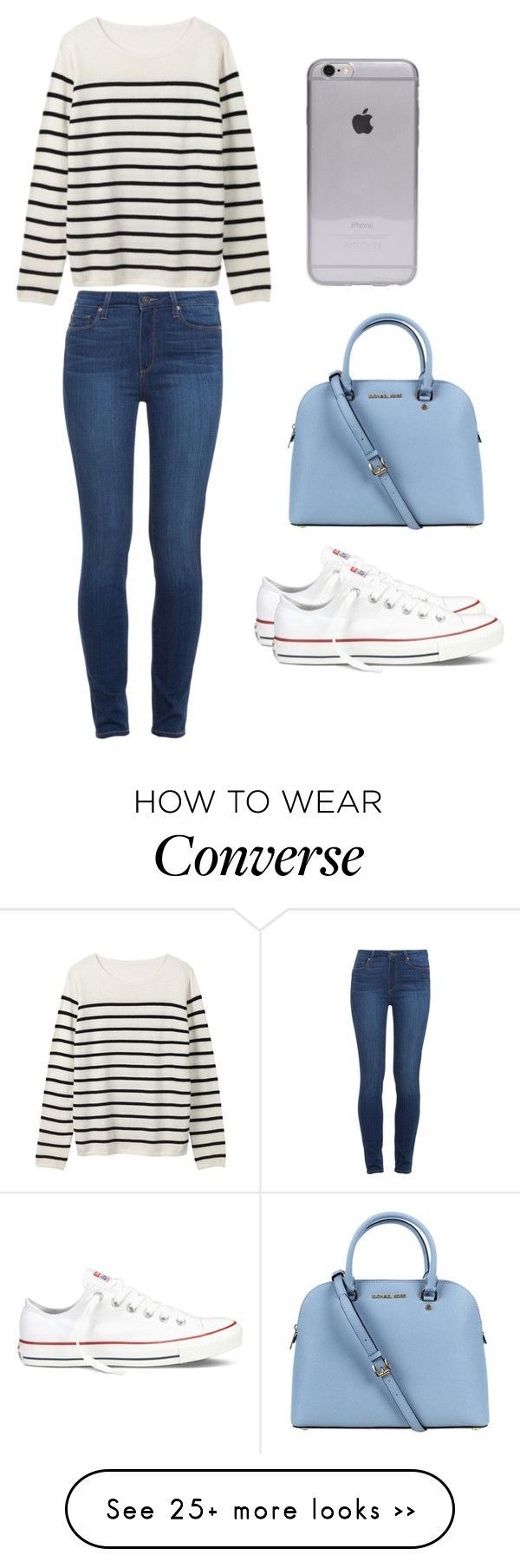 """Preppy #1"" by miss-cupcake-girl1 on Polyvore featuring Mode, Paige Denim, Converse und Michael Kors"