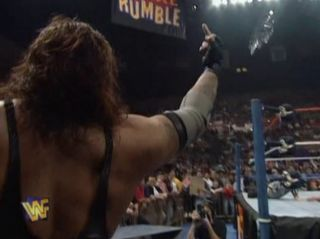 First Middle finger in wrestling Royal Rumble 1996
